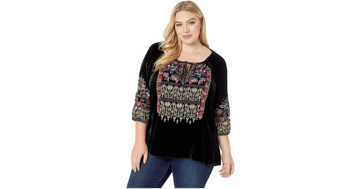 dfd4fbff71e Lyst - Johnny Was Plus Size Claude Velvet Peasant Blouse in Black - Save 50%
