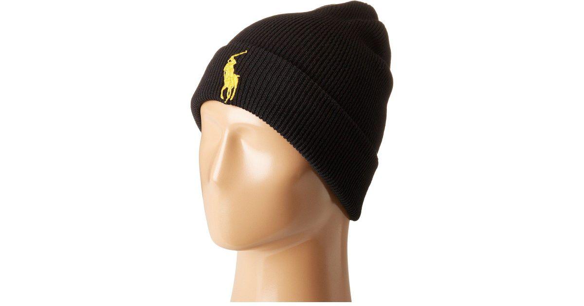 eaae82c4 Polo Ralph Lauren Big Pony Cuff Hat (polo Black) Beanies in Black for Men -  Lyst
