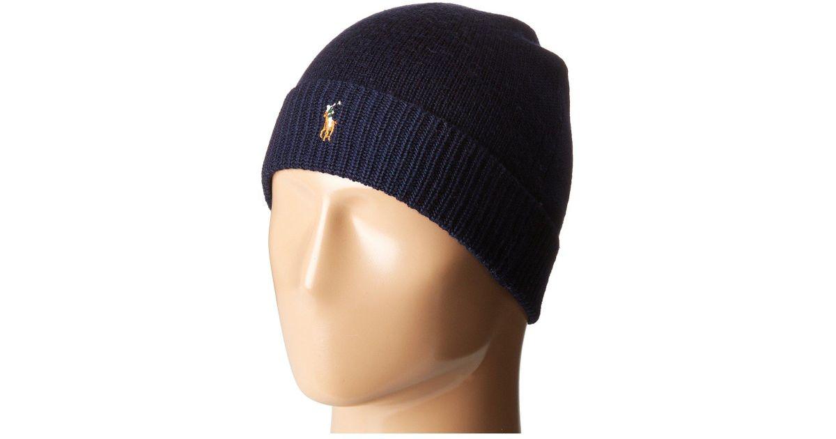 Lyst - Polo Ralph Lauren Classic Lux Merino Cuff Hat (classic Wine) Caps in  Blue for Men a3c400fb2e04