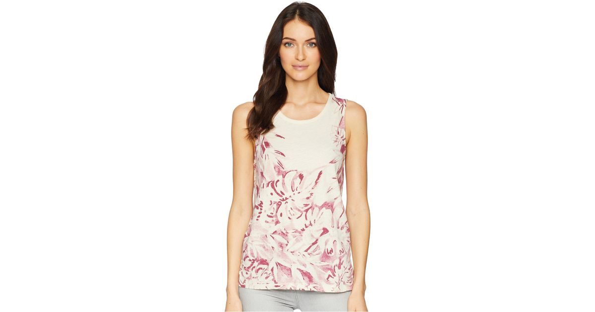 a15a512ddb029 Lyst - Lucky Brand Printed Floral Tank Top in Pink - Save 5%