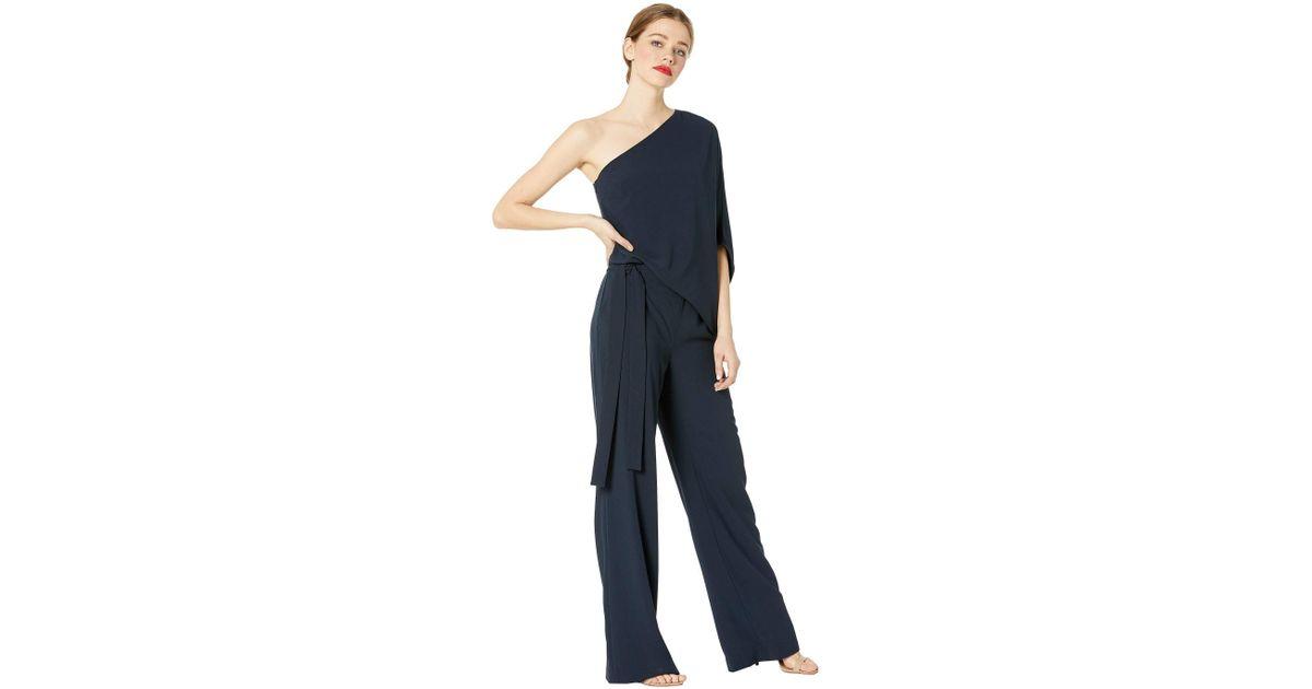 d2db2b083792 Lyst - Halston Asymmetrical Crepe Jumpsuit (navy) Women s Jumpsuit   Rompers  One Piece in Blue