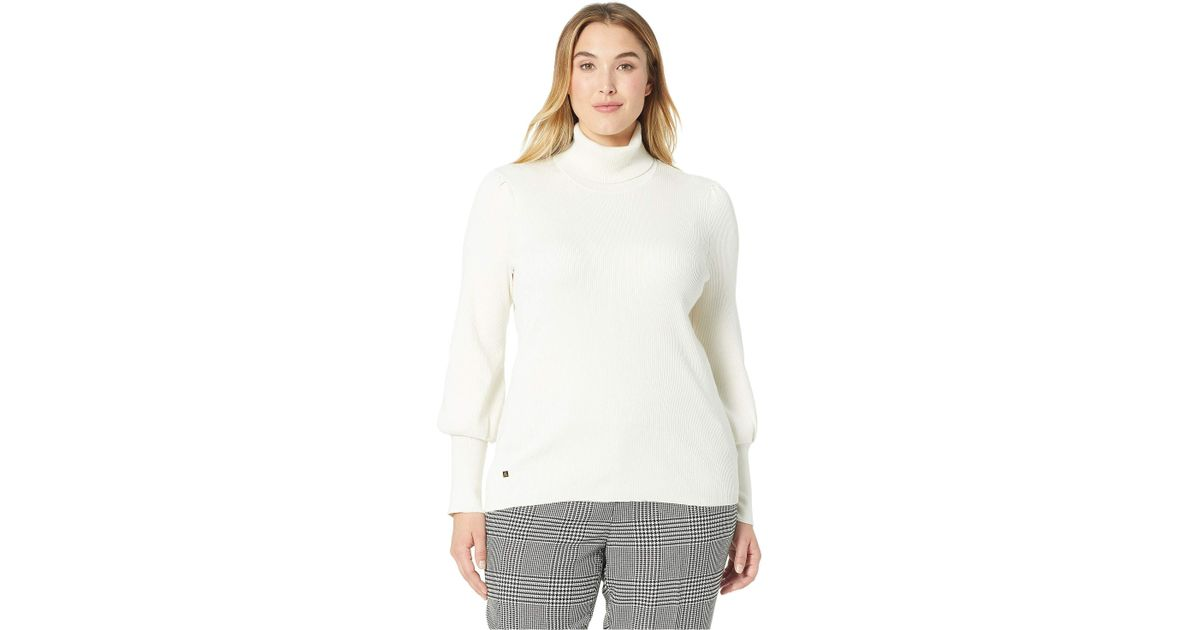 376a00dd7ab Lyst - Lauren by Ralph Lauren Plus Size Ribbed Puff-sleeve Sweater  (marscapone Cream) Women s Sweater in Natural
