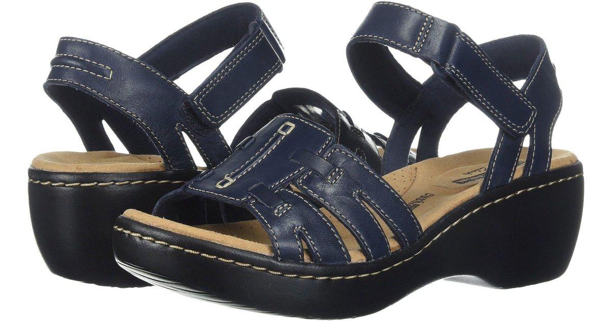 5a99aad42f5b Lyst - Clarks Delana Nila (black Leather) Women s Sandals in Blue