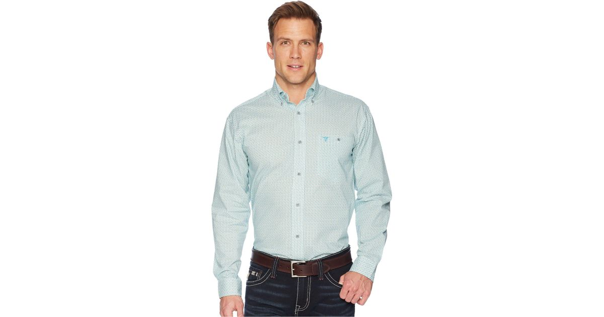 cc5a851f Lyst - Wrangler 20x Long Sleeve Competition Ac Shirt Button Print  (blue/green) Men's Clothing in Blue for Men