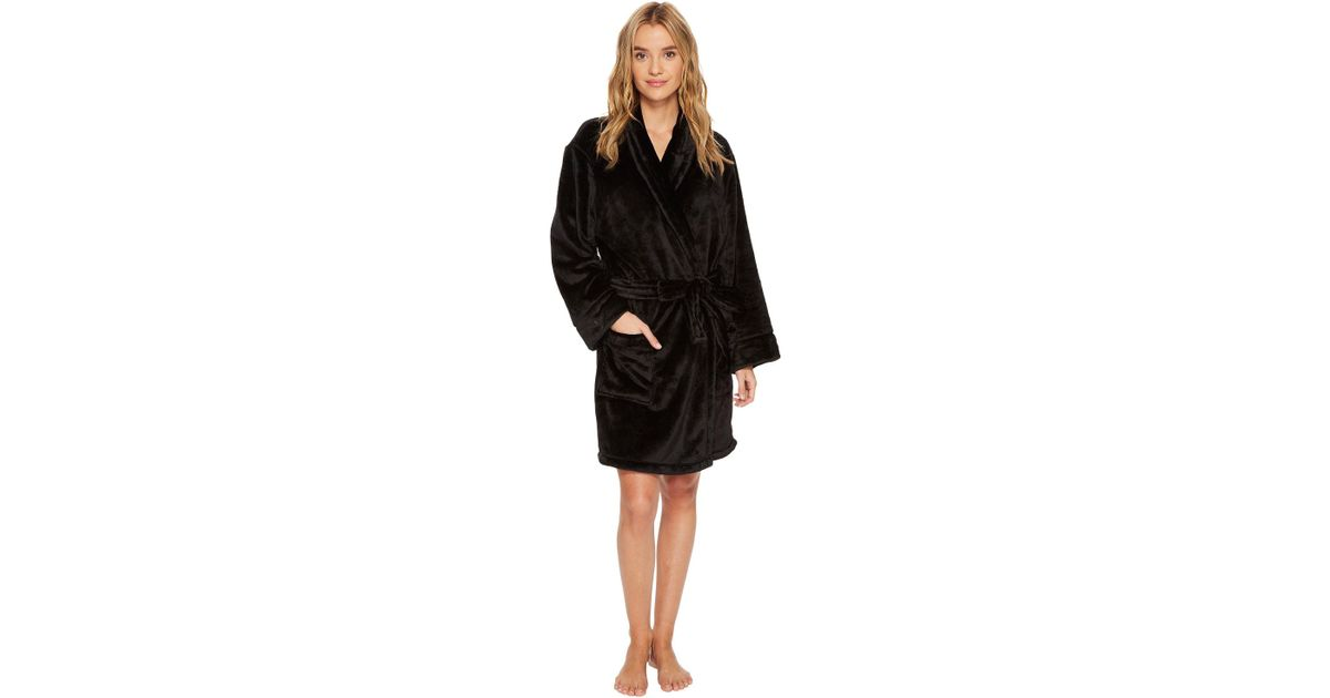 Lyst - Dkny Fleece Short Robe in Black