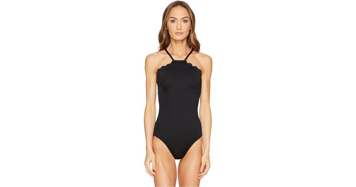 d7901d9f6599f Lyst - Kate Spade Core Solids  79 Scalloped High Neck One-piece W   Removable Soft Cups in Black