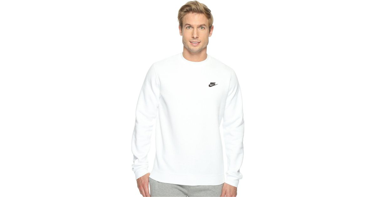 519c2ee4497d Lyst - Nike Club Fleece Pullover Crew (dark Grey Heather white) Men s Fleece  in White for Men