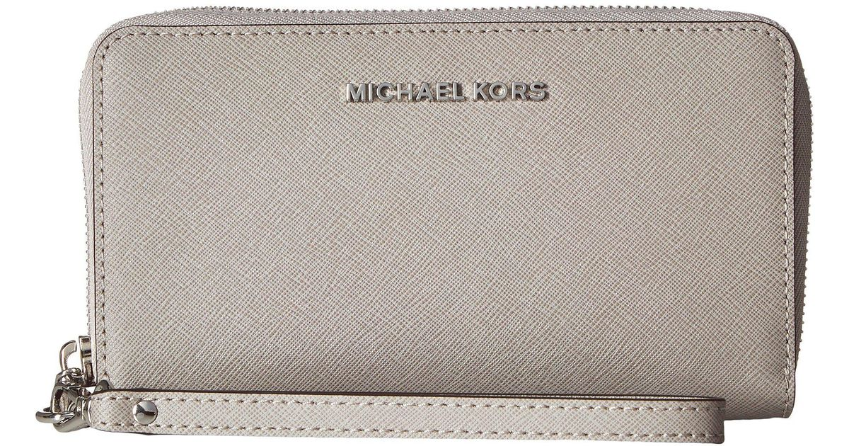 4f14442571bb Lyst - MICHAEL Michael Kors Jet Set Travel Large Flat Mf Phone Case (pearl  Grey) Cell Phone Case in Gray