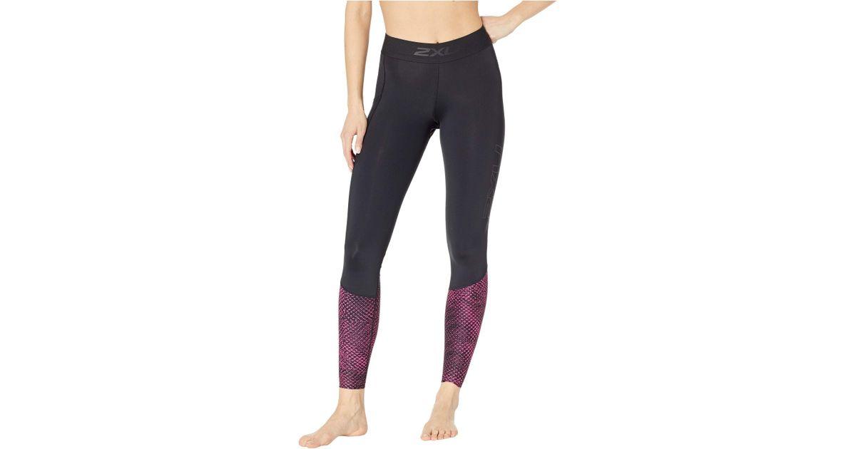 860ea3d2ef 2XU Accelerate Compression Tights W/ Storage (black/sherbert Teal Stripe)  Women's Casual Pants in Black - Lyst