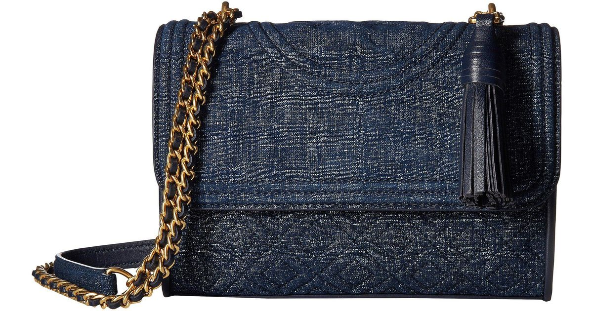 54ce80eb6f28 Lyst - Tory Burch Fleming Denim Suede Small Convertible Shoulder Bag in Blue