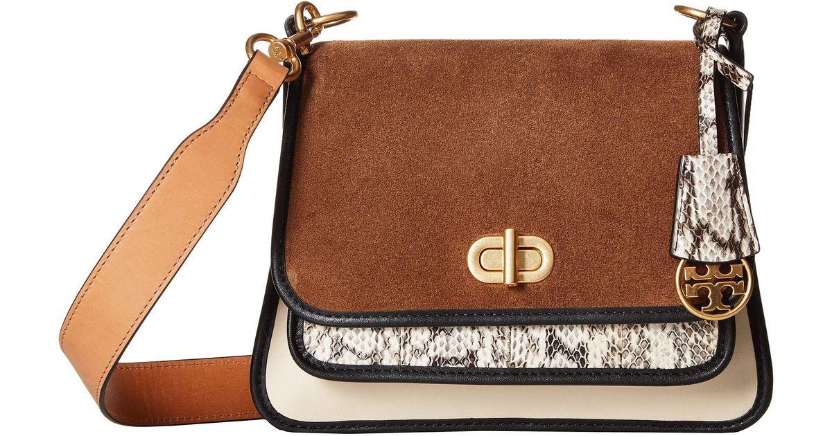 9d76740c6bc ... low cost lyst tory burch bennett mixed materials small saddlebag new cream  handbags 0193c 57f8d