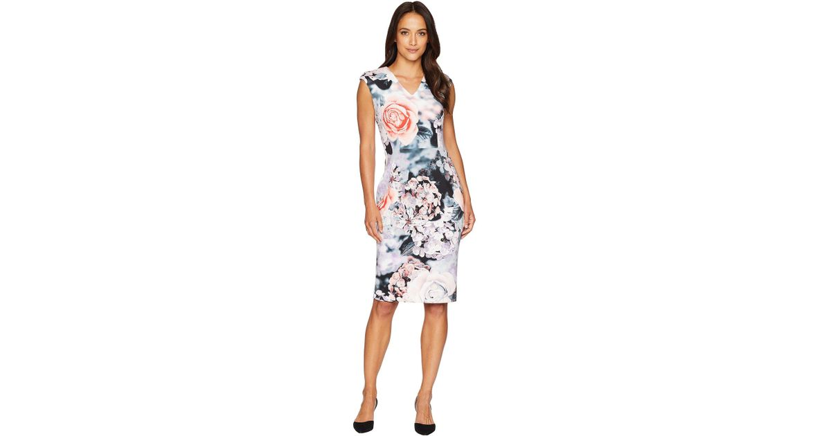 ef588dfa295d Calvin Klein V-neck Flower Print Sheath Dress Cd8m98av - Lyst