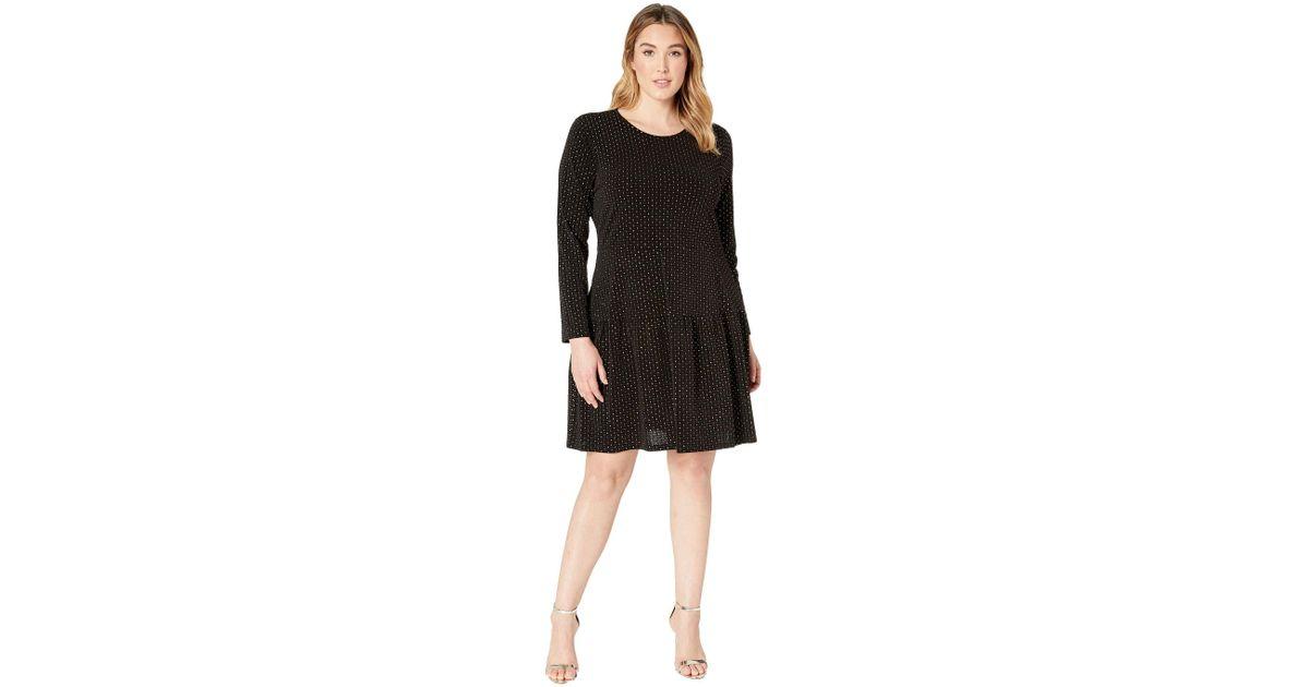 MICHAEL Michael Kors - Plus Size Long Sleeve Shirred Skirt Dress  (black/gold) Women\'s Dress - Lyst