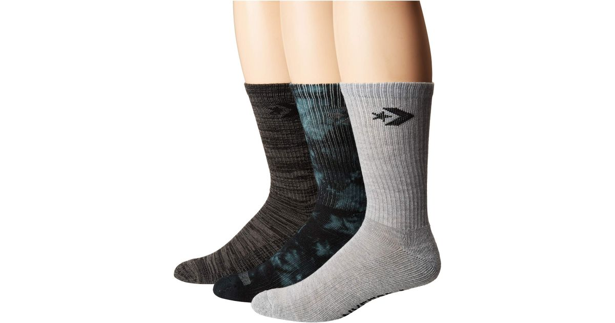 1989a66437de Lyst - Converse 3-pack Tie-dye Star Chevron Crew (black light Grey black) Men s  Low Cut Socks Shoes in Black for Men