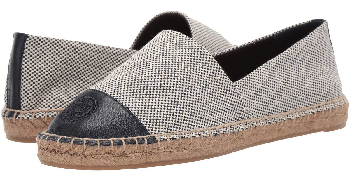 ea175bc8c8fea Lyst - Tory Burch Color Block Flat Espadrille (denim Chambray) Women s Shoes  in Blue - Save 6%