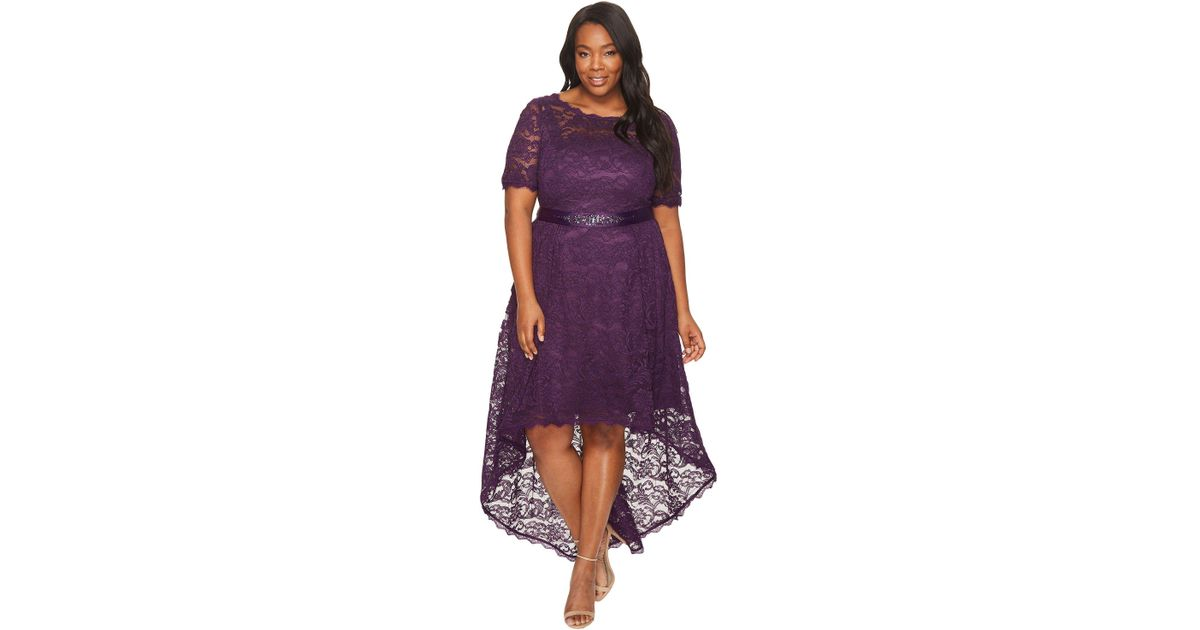 Adrianna Papell Plus Size Short Sleeve Lace Dress With High-low Hem ...