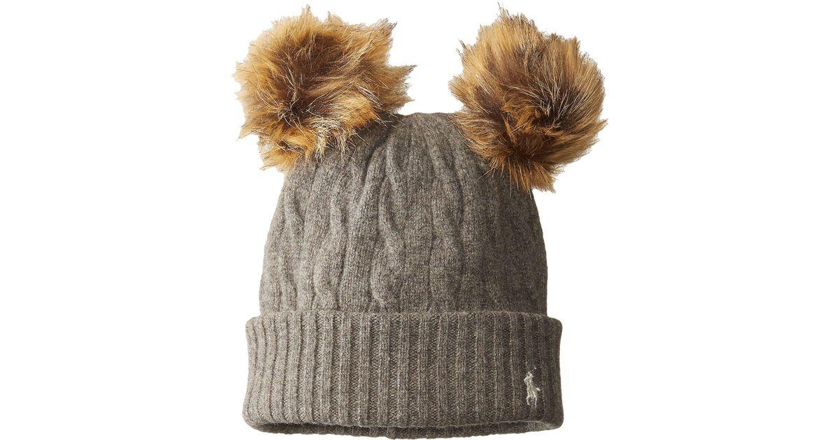 1bff62555371b2 Polo Ralph Lauren Double Pom Cashmere Blend Hat - Lyst