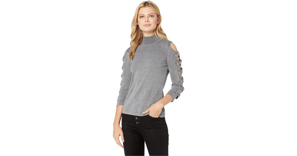 cfef5580afe16 Lyst - Cece Long Sleeve Turtleneck Sweater W  Bows in Gray - Save 31%