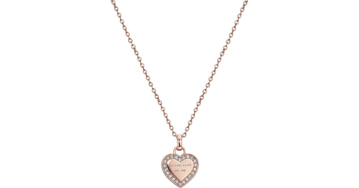 00d93afd7f43d Lyst - Michael Kors Crystal Heart Pendant Necklace (rose Gold) Necklace in  Metallic
