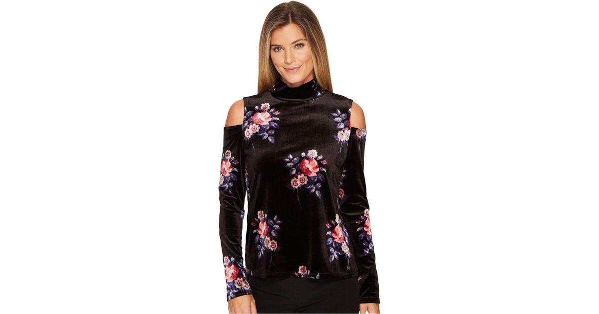 45afbaf762d58 Lyst - Ivanka Trump Knit Velvet Turtle Neck Long Sleeve Cold Shoulder Top  in Black - Save 62.0253164556962%