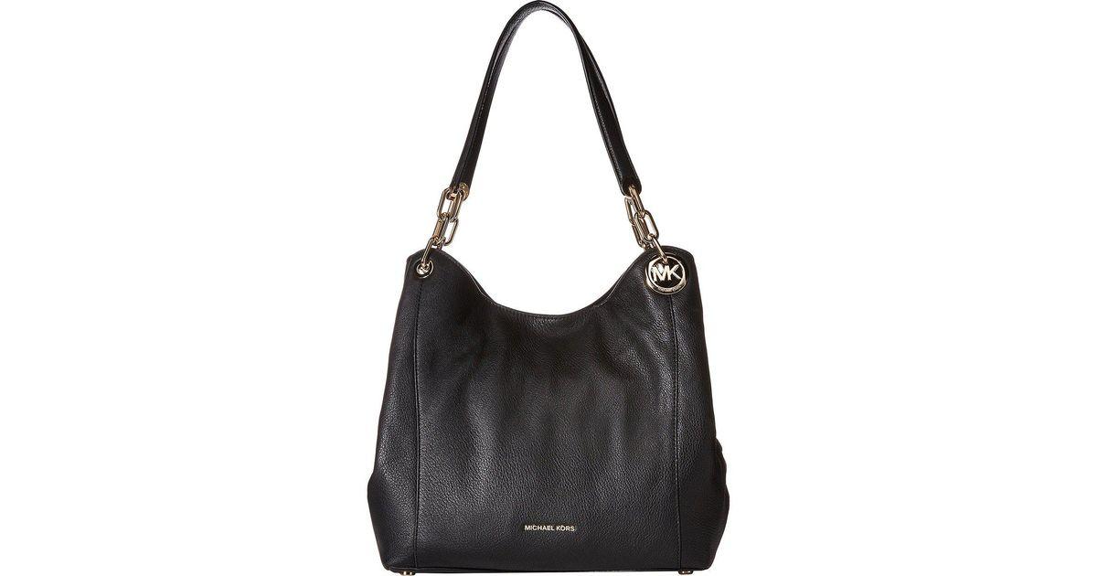 6b9190047e15 MICHAEL Michael Kors Fulton Large Charm Shoulder Tote (acorn) Tote Handbags  in Black - Lyst