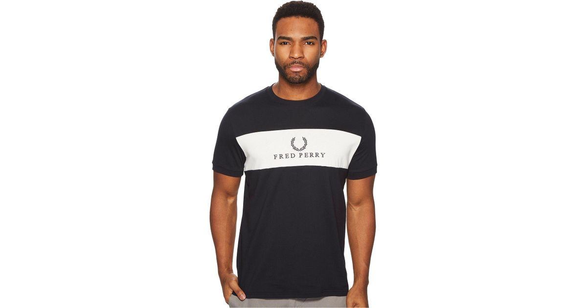 8b2821e14cc4 Lyst - Fred Perry Panel Embroidered T-shirt in Blue for Men