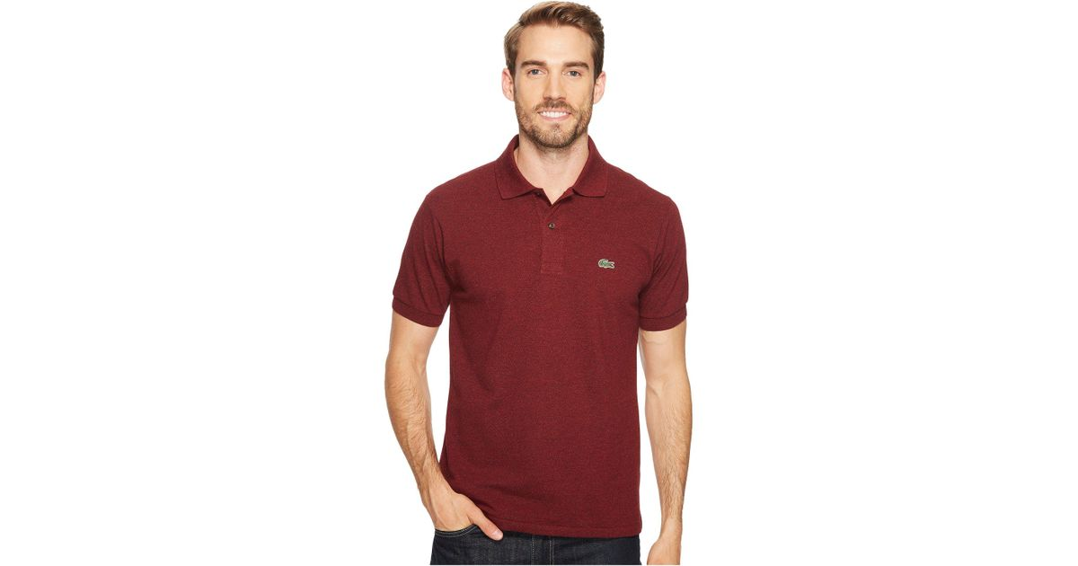 ee07ca119 Lyst - Lacoste Short Sleeve Classic Fit Chine Pique Polo Shirt in Red for  Men