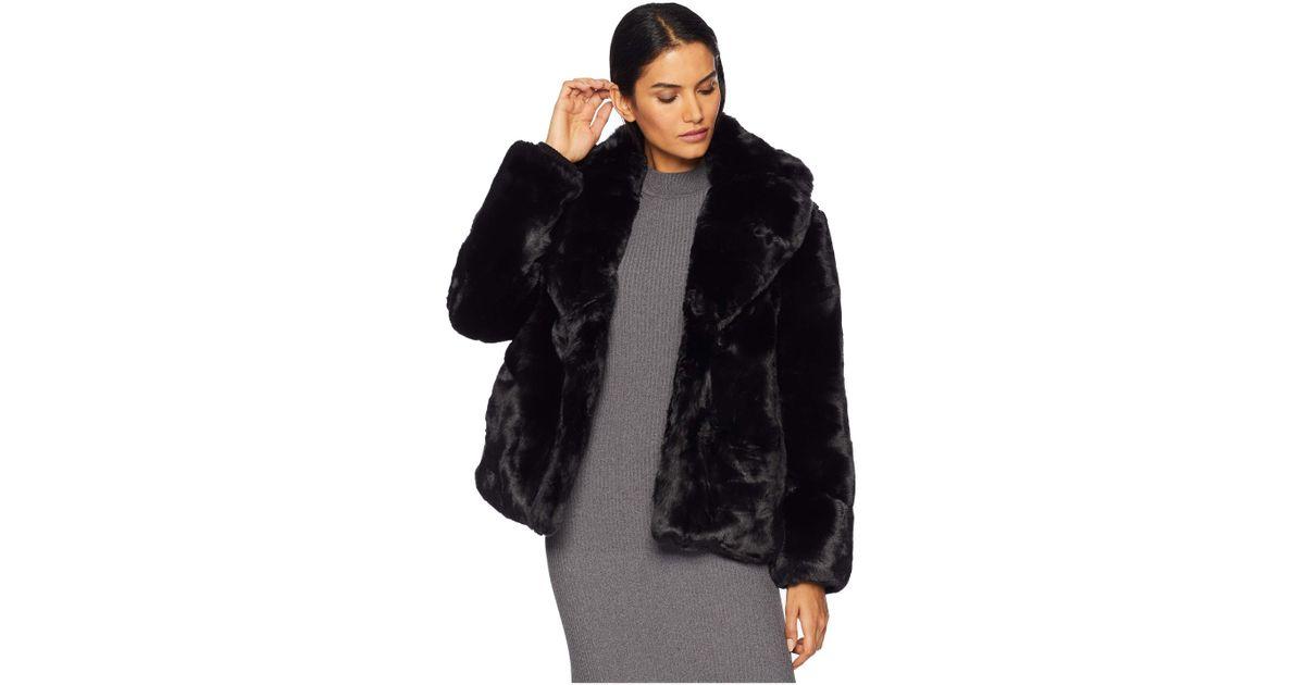 681411918 Vince Camuto - Black Short Faux Fur Jacket R8671 (navy) Women's Coat - Lyst