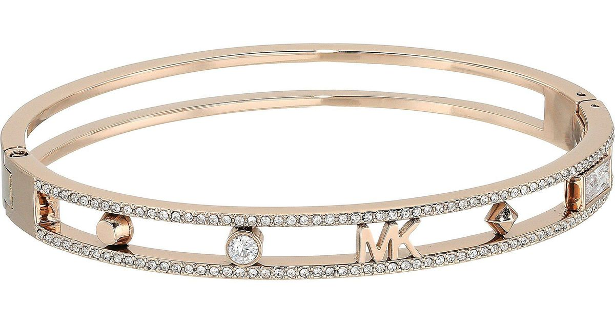 Lyst Michael Kors Heritage In Full Bloom Pave Rimmed Bangle With Mk Logo Gold Bracelet Metallic