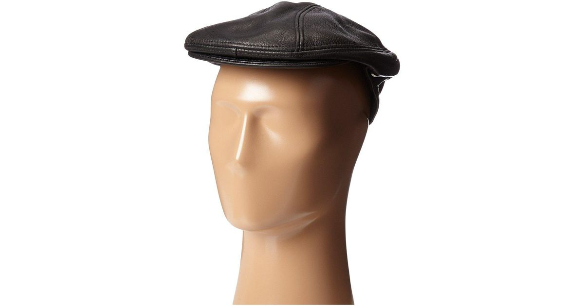 Lyst - Stetson Distressed Leather Ivy Cap in Black for Men 89c620b89349