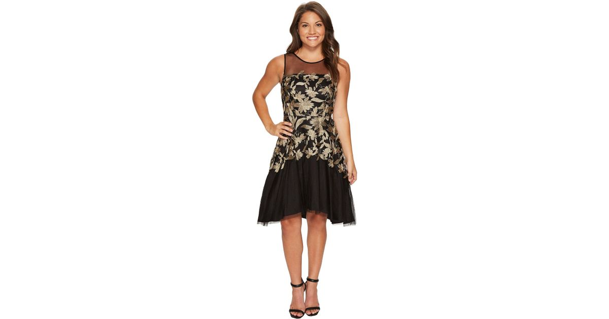 ba8240478b9eb Tahari Petite Embroidered Mesh Party Dress in Black - Lyst