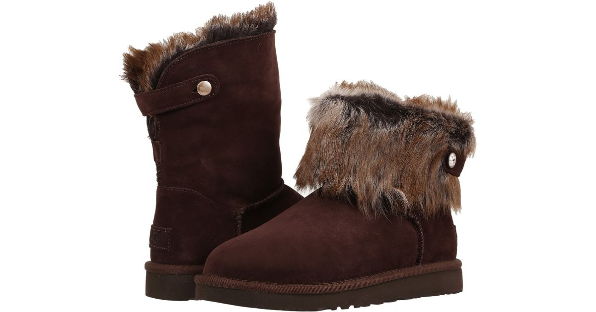6ec16303f39 UGG - Brown Valentina Shearling and Suede Boots - Lyst