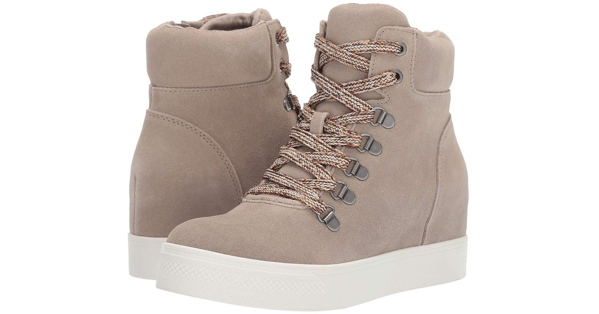 0a28db93db8 Lyst - Steve Madden Catch Wedge Sneaker (taupe) Women s Lace Up Casual Shoes  in Brown