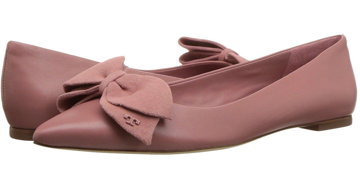 57f877be592222 Lyst - Tory Burch Rosalind Ballet Flat in Pink