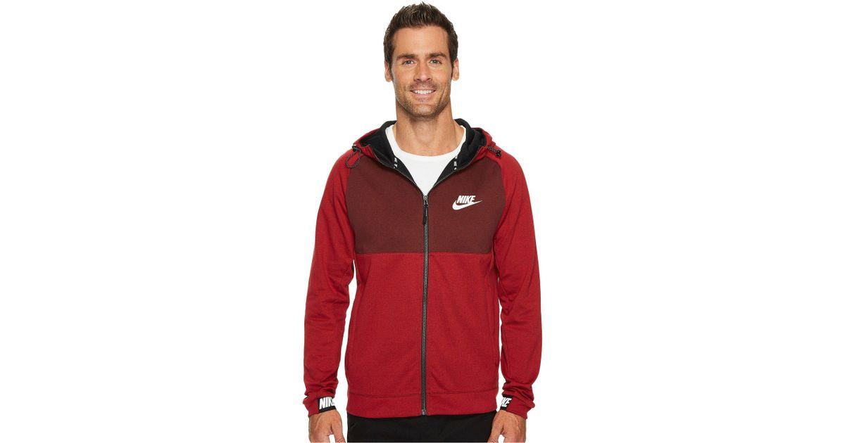 6166b011 Nike Sportswear Advance 15 Full Zip Hoodie in Red for Men - Lyst