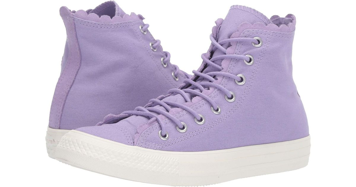 00bebb92b Converse Chuck Taylor All Star Frilly Thrills Canvas - Hi (washed Lilac/washed  Lilac/egret) Classic Shoes in Purple - Save 25% - Lyst