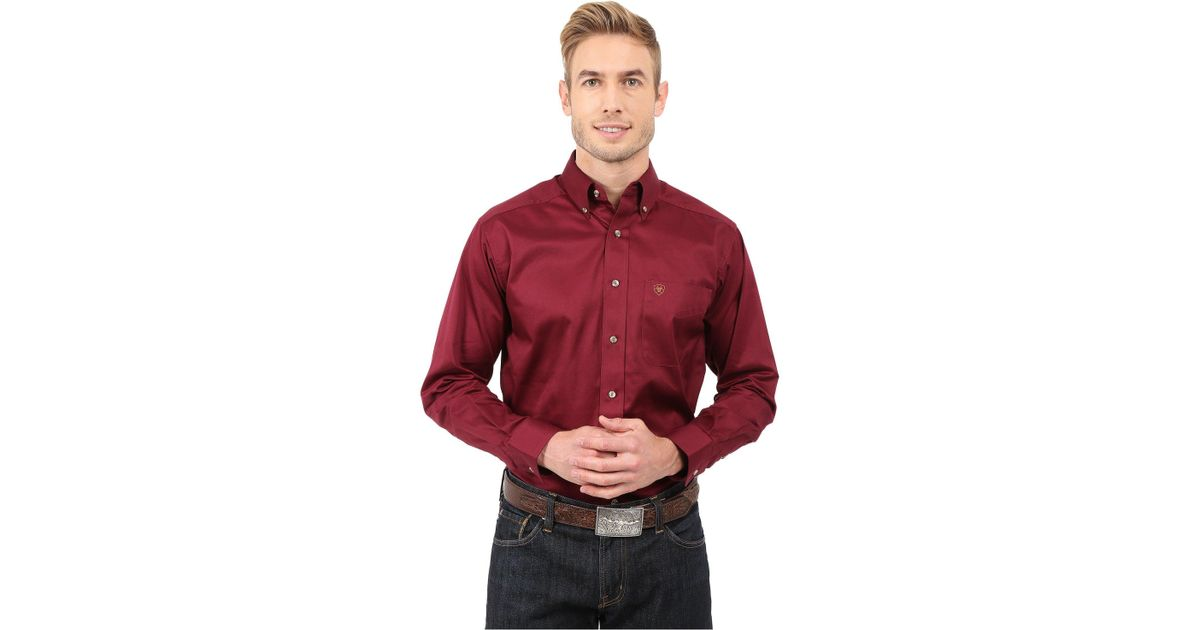 b6ef51ae Ariat Solid Twill Shirt in Red for Men - Lyst
