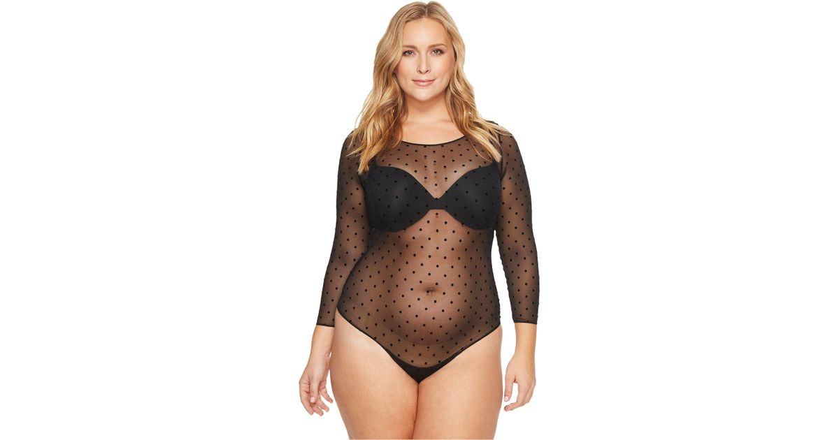 d4797ab24ef18 Spanx Plus Size Sheer Fashion Mesh Thong Bodysuit (very Black) Women's  Jumpsuit & Rompers One Piece - Lyst