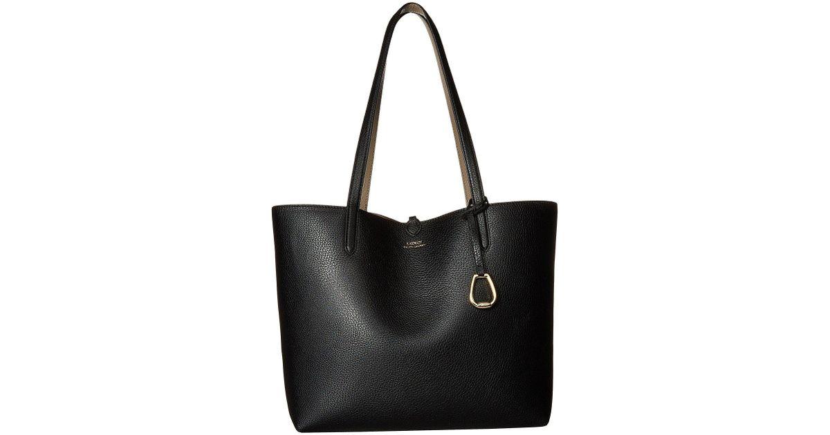 a31056bd338b Lyst - Lauren by Ralph Lauren Merrimack Reversible Tote Medium  (black taupe) Tote Handbags in Black