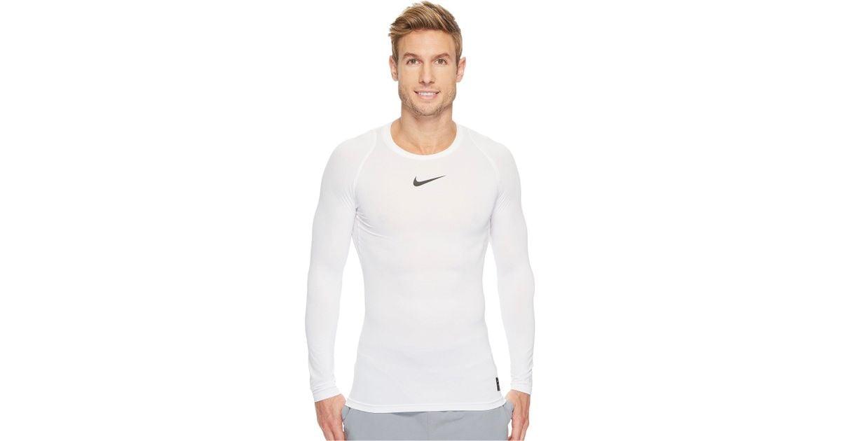 2f26e0b1b859 Lyst - Nike Pro Compression Long Sleeve Training Top (black white white)  Men s Long Sleeve Pullover in White for Men