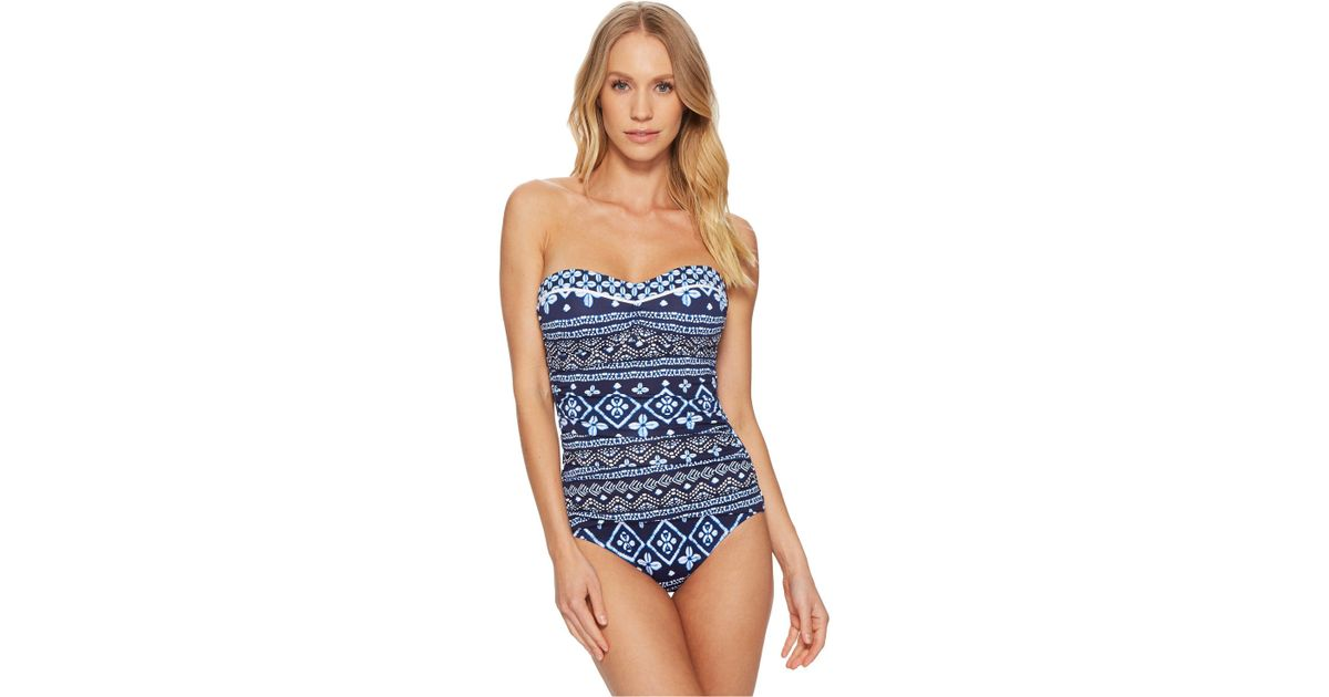 5f0a9e1211 Lyst - Tommy Bahama Indigo Cowrie Bandeau One-piece Swimsuit (mare Navy)  Women's Swimsuits One Piece in Blue