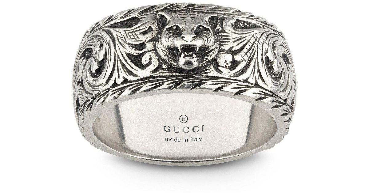 43ebe83d1bd999 Lyst - Gucci Gatto Ring in Metallic for Men