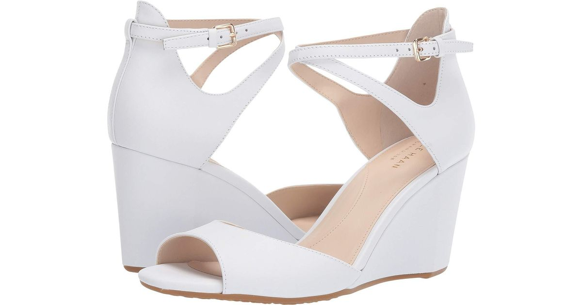 a02f4993001 Lyst - Cole Haan 75 Mm Sadie Grand Open Toe Wedge Sandal (black Leather) Women s  Shoes in White