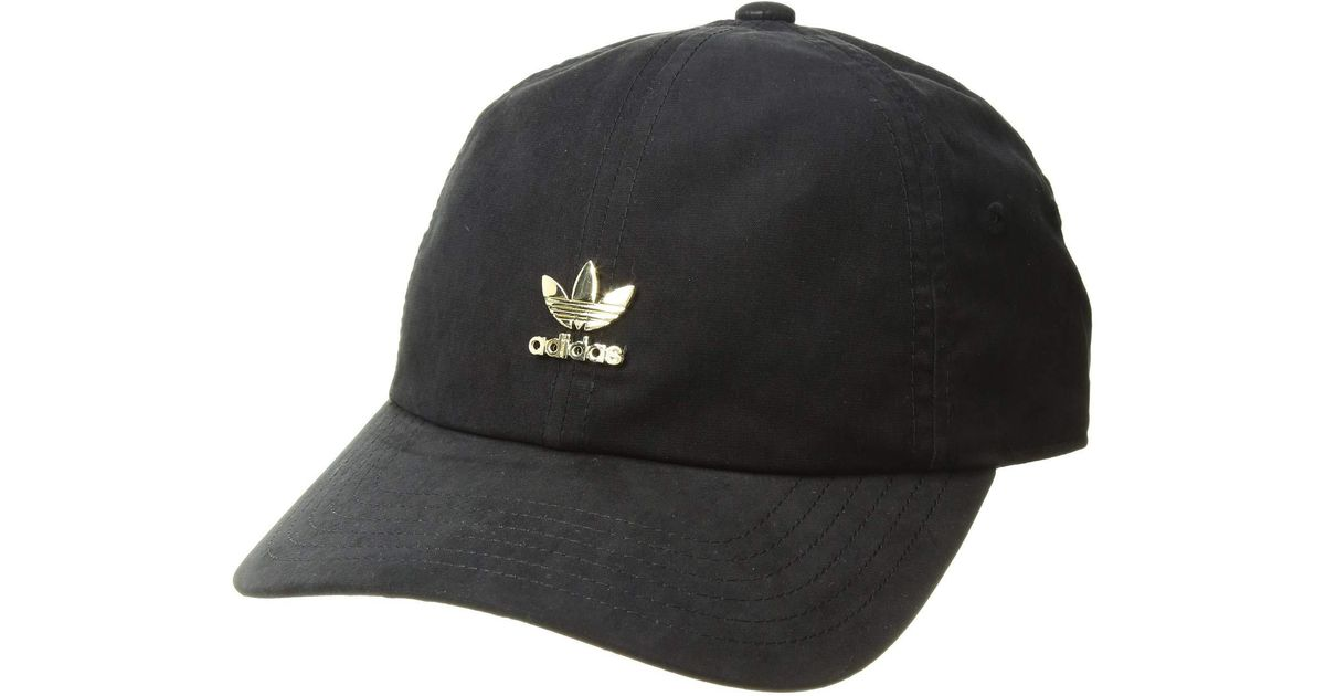 b6ef4acff35 Lyst Adidas Originals Relaxed Metal Strapback Black. Adidas Adicolor  Trefoil Cap Color Black Gold