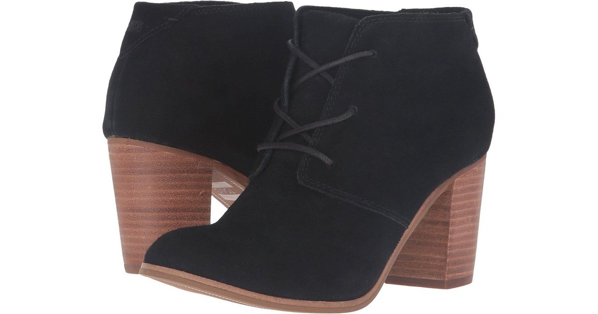 9d387666abb Lyst - Toms Lunata Lace-up Bootie (wheat Suede) Women s Lace-up Boots in  Black