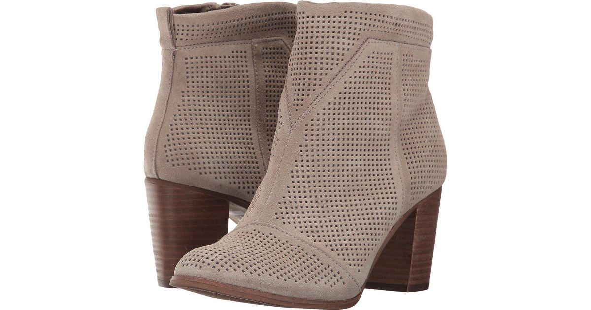 6cb70c450ea Lyst - Toms Lunata Bootie (desert Taupe Suede Perforated) Women s Zip Boots  in Brown - Save 29%