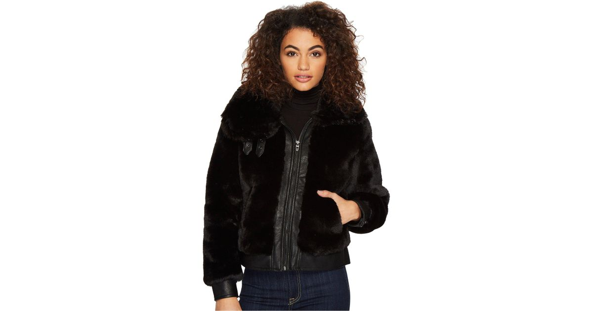 2fc29fa4193 Blank NYC Fake Fur Jacket With Vegan Leather Detail In Black Noise (black  Noise) Coat in Black - Lyst