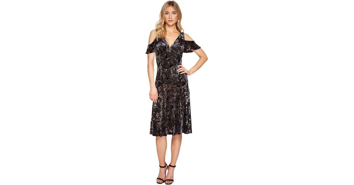 645a509df3a9 Adrianna Papell Velvet Burnout Midi Dress in Black - Lyst