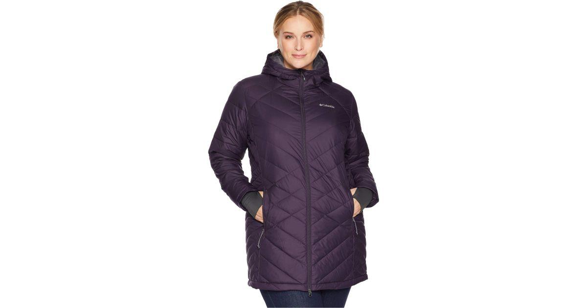 f3805e2f9f8 Columbia Plus Size Heavenly Long Hooded Jacket (nocturnal) Women's Coat in  Purple - Lyst