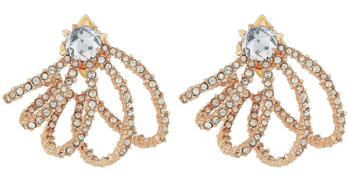Alexis Bittar Golden Crystal Lace Orbiting Post Earrings acgpeO